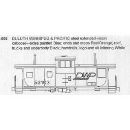 CDS DRY TRANSFER N-608  DULUTH WINNIPEG & PACIFIC CABOOSE - N SCALE