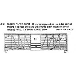CDS DRY TRANSFER N-615  NICKEL PLATE ROAD 40' BOXCAR - N SCALE