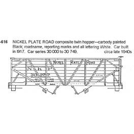 CDS DRY TRANSFER N-616  NICKEL PLATE ROAD 2 BAY HOPPER - N SCALE