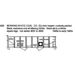 CDS DRY TRANSFER N-622  BERWIND WHITE COAL 2 BAY HOPPER - N SCALE