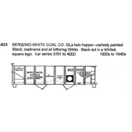 CDS DRY TRANSFER G-623  BERWIND WHITE COAL 2 BAY HOPPER - G SCALE
