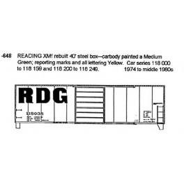 CDS DRY TRANSFER N-648  READING 40' BOXCAR