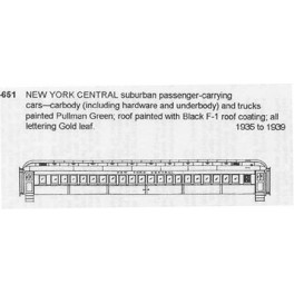 CDS DRY TRANSFER N-651  NEW YORK CENTRAL COMMUTER COACH