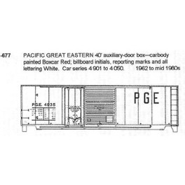 CDS DRY TRANSFER N-677  PACIFIC GREAT EASTERN 40' BOXCAR