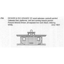 CDS DRY TRANSFER G-704  DENVER & RIO GRANDE SHORT CABOOSE