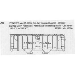 CDS DRY TRANSFER G-707  PENNSYLVANIA H34A 2 BAY COVERED HOPPER - G SCALE