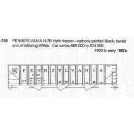 CDS DRY TRANSFER G-708  PENNSYLVANIA H39 3 BAY HOPPER - G SCALE