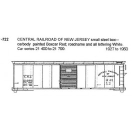CDS DRY TRANSFER N-722  CENTRAL RAILROAD OF NEW JERSEY 40' BOXCAR