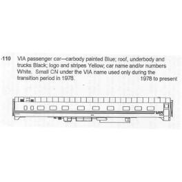 CDS DRY TRANSFER HO-110  VIA RAIL PASSENGER CAR
