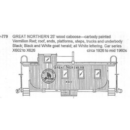 CDS DRY TRANSFER O-779  GREAT NORTHERN WOOD CABOOSE
