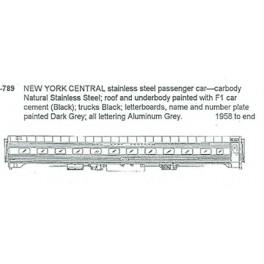 CDS DRY TRANSFER S-789  NEW YORK CENTRAL PASSENGER CARS