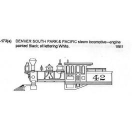 CDS DRY TRANSFER G20.3-173  DENVER SOUTH PARK & PACIFIC STEAM LOCOMOTIVE