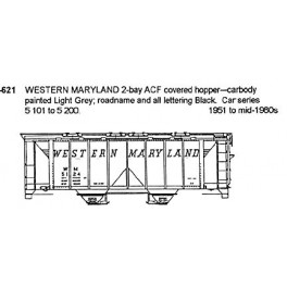 CDS DRY TRANSFER HO-621  WESTERN MARYLAND 2 BAY COVERED HOPPER - HO SCALE