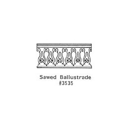 GRANDT LINE 3535 - SAWED BALUSTRADE GOTHIC PORCH RAILING - O SCALE