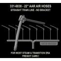"HI-TECH 6038 - AAR 22"" AIR HOSES - NO BRACKETS - HO SCALE"