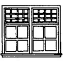 """GRANDT LINE 5208 - PAIRED DOUBLE HUNG WINDOWS - 85"""" X 48"""" - HO SCALE"""