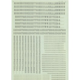 MICROSCALE DECAL 87-111-4 - OLD WEST ALPHABET - SILVER - HO SCALE