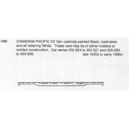 CDS DRY TRANSFER HO-105NOS CANADIAN PACIFIC 53' FLAT CAR