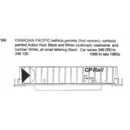 CDS DRY TRANSFER HO-106NOS CANADIAN PACIFIC BATHTUB GONDOLA