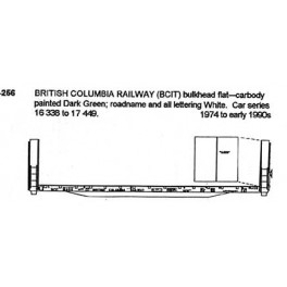 CDS DRY TRANSFER HO-256NOS BRITISH COLUMBIA RAILWAY BULKHEAD FLAT CAR
