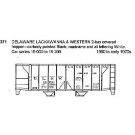 CDS DRY TRANSFER HO-371NOS  DELAWARE LACKAWANNA & WESTERN 2 BAY COVERED HOPPER - HO SCALE
