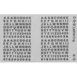 "CDS DRY TRANSFER X-3 3/32"" GOTHIC ALPHABET"