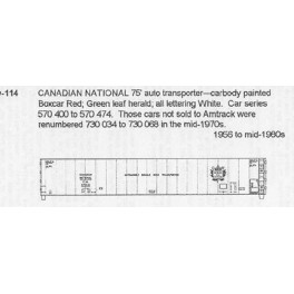 CDS DRY TRANSFER HO-114 CANADIAN NATIONAL 75' BOXCAR