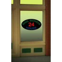 MILLER 8880 - NEON SIGN - BAIL BONDS 24 HOURS WINDOW SIGN