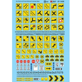 MICROSCALE DECAL 60-1430 - ROAD MARKINGS - PARKING & CLEARANCE SIGNS
