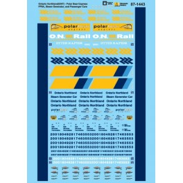MICROSCALE DECAL 60-1443 - ONTARIO NORTHLAND POLAR BEAR EXPRESS LOCOMOTIVES & PASSENGER CARS - N SCALE