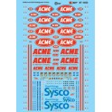 MICROSCALE DECAL 87-1453 - ACME & SYSCO REFRIGERATED TRAILERS - HO SCALE