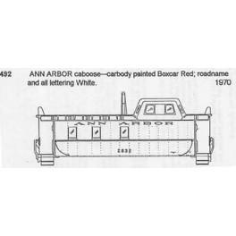 CDS DRY TRANSFER HO-492 ANN ARBOR CABOOSE - HO SCALE
