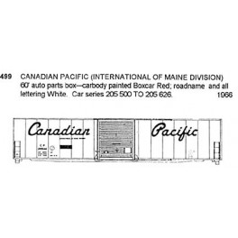 CDS DRY TRANSFER HO-499 CANADIAN PACIFIC 60' BOXCAR  - HO SCALE