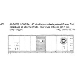 CDS DRY TRANSFER HO-103NOS ALGOMA CENTRAL 40' BOXCAR