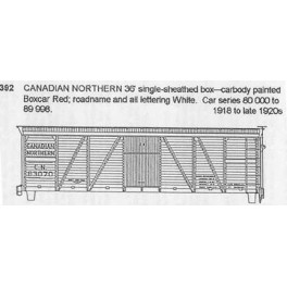 CDS DRY TRANSFER N-392NOS CANADIAN NORTHERN 36' BOXCAR - N SCALE