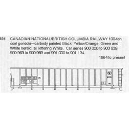 CDS DRY TRANSFER N-391NOS CANADIAN NATIONAL / BRITISH COLUMBIA RAILWAY 100 TON COAL GONDOLA - N SCALE