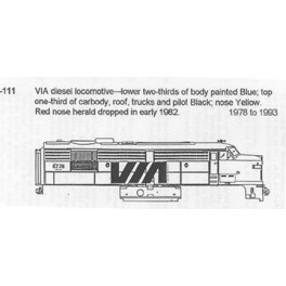CDS DRY TRANSFER HO-111NOS  VIA RAIL DIESEL LOCOMOTIVE - HO SCALE