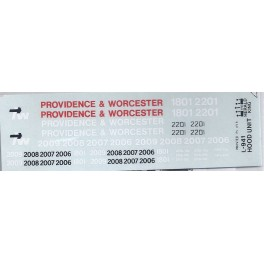 HERALD KING DECAL L-941 - PROVIDENCE & WORCESTER DIESEL LOCOMOTIVE