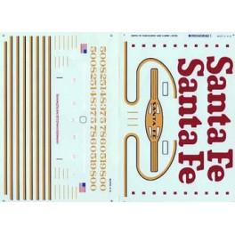 MICROSCALE DECAL 48-277 - SANTA FE SUPER FLEET DASH 8-40BW/CW DIESEL LOCOMOTIVE