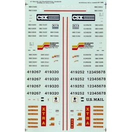 MICROSCALE DECAL 87-508 - CSX / SEABOARD SYSTEM / USPS / XTRA 45' TRAILERS