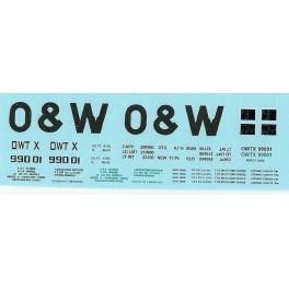 DANS RESIN CASTING DECALS - ONEIDA & WESTERN BATHTUB COAL GONDOLA - OWTX 99001