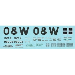 DANS RESIN CASTING DECALS - ONEIDA & WESTERN BATHTUB COAL GONDOLA - OWTX 99002
