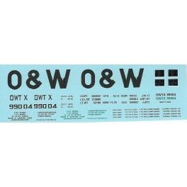 DANS RESIN CASTING DECALS - ONEIDA & WESTERN BATHTUB COAL GONDOLA - OWTX 99004