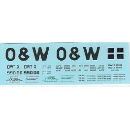 DANS RESIN CASTING DECALS - ONEIDA & WESTERN BATHTUB COAL GONDOLA - OWTX 99006