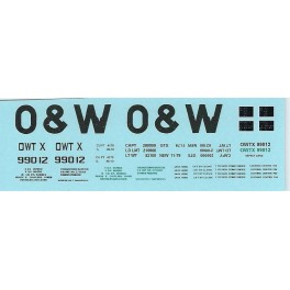 DANS RESIN CASTING DECALS - ONEIDA & WESTERN BATHTUB COAL GONDOLA - OWTX 99012