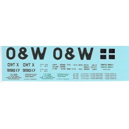 DANS RESIN CASTING DECALS - ONEIDA & WESTERN BATHTUB COAL GONDOLA - OWTX 99017