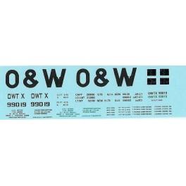 DANS RESIN CASTING DECALS - ONEIDA & WESTERN BATHTUB COAL GONDOLA - OWTX 99019