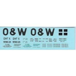 DANS RESIN CASTING DECALS - ONEIDA & WESTERN BATHTUB COAL GONDOLA - OWTX 99021