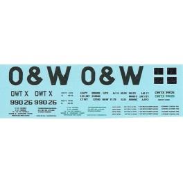 DANS RESIN CASTING DECALS - ONEIDA & WESTERN BATHTUB COAL GONDOLA - OWTX 99026