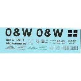 DANS RESIN CASTING DECALS - ONEIDA & WESTERN BATHTUB COAL GONDOLA - OWTX 99040